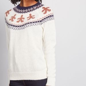 NWT Modcloth Cookie Swap Gingerbread Sweater S